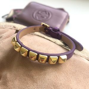 NWT Juicy Couture Skinny Leather Pyramid Bracelet